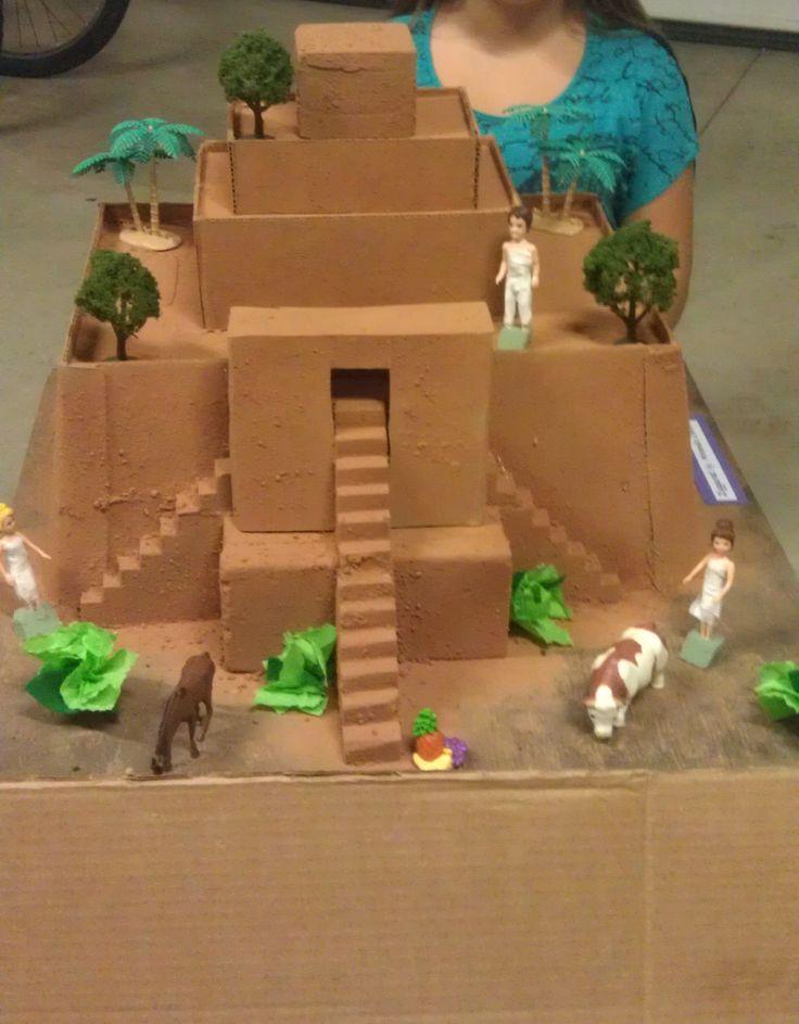 Social Studies Classroom Decoration Ideas ~ Ziggurat using spray adhesive and dirt for final layer