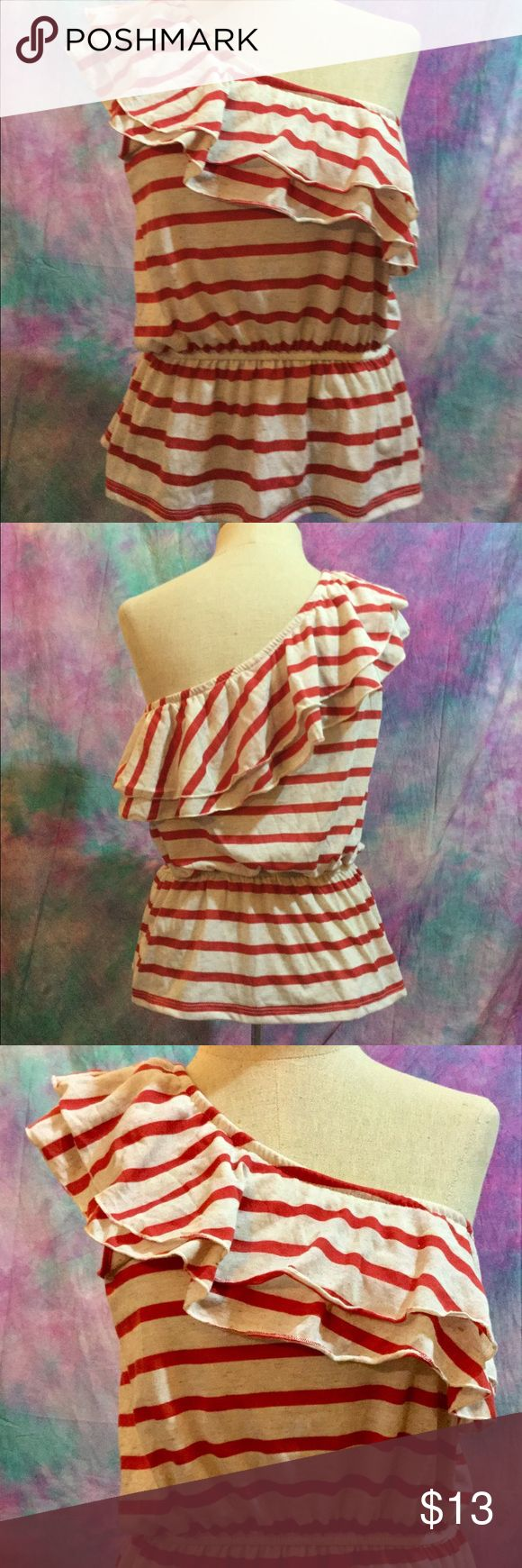 Red cream beige striped ruffle peplum one arm  top This one of a kind top features a ruffled one sleeve, elasticized waist, and a figure flattering peplum design. Never worn. Tops