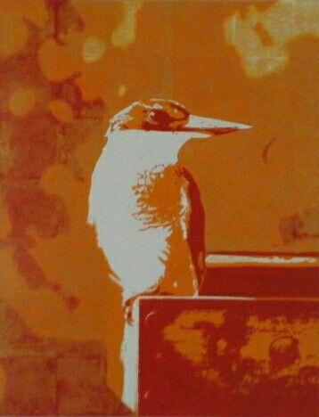 Popart Kotare, NZ Native Kingfisher, Acrylic painting on Canvas, 555 x 715mm, by Cherith Curtis