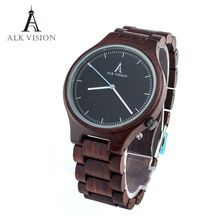 mens wooden watch quartz red sandal wood watch cusual mens womens couple clock top brand luxury Women watches clock ALK Vision(China (Mainland))