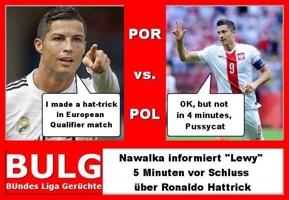 #Lewandowski antwortet auf #Hattrick von #Ronaldo mit einem lupenreinen 4 Minuten Hattrick. --- #POR #POL #EM #Qualifikation #Fussball #Soccer #EM2016