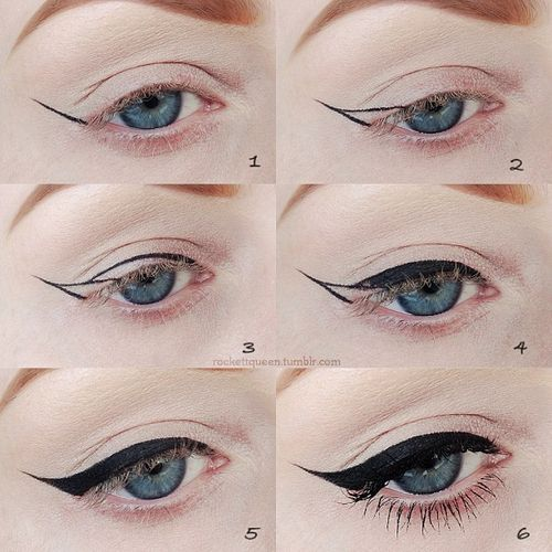 Perfect vintage style winged liner how-to. #eyes #makeup #liner #vintage #cat_eye