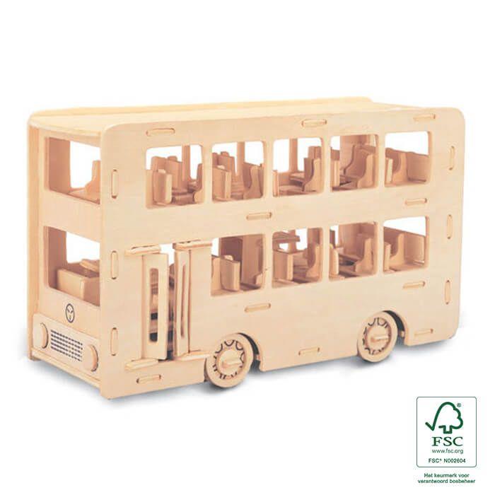 Liefhebber van Engeland?  Maak je houten bouwpakket dubbeldekker bus - Geschikt om te verven!