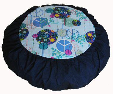 "Zafu Meditation Cushion for Children - Cotton Buckwheat Pillow """"Peace"""" Blue"