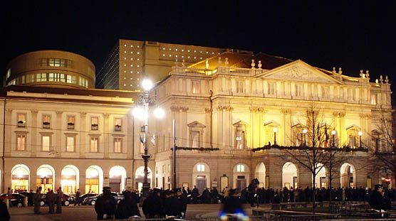 La Scala Opera House in Milan, 1778 by architect Giuseppe Piermarini. Restructuring, restoration and addition by Mario Botta in 2002-2004.