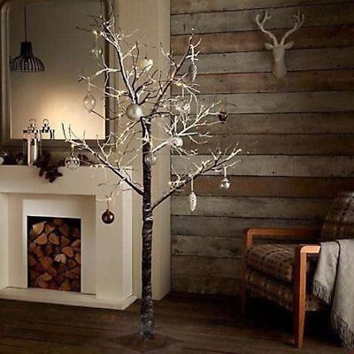 7ft Snowy Effect Warm White Twig Tree Pre-lit 120 LED XMAS Lights Indoor/Outdoor