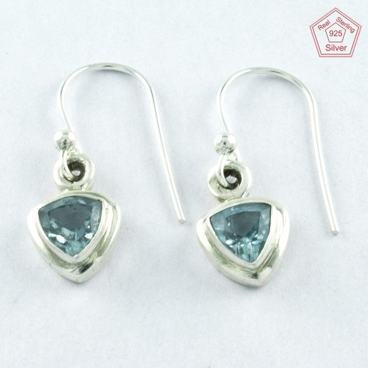 Attractive 2.7 gm Blue Topaz Stone Sterling Silver 925 Jewelry Earrings $ 12.99 #SilvexImagesIndiaPvtLtd #DropDangle