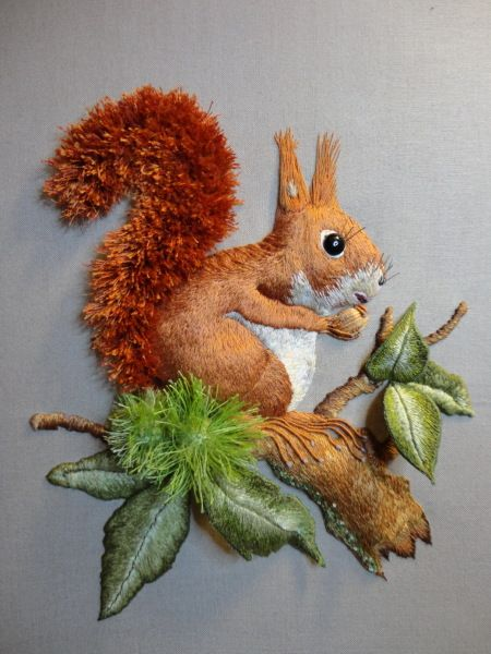 A wonderful dimensional squirrel embroidered by Le Rinart, based on a design by Christiane Paris. From Stitchin' Fingers, here: http://stitchinfingers.ning.com/photo/squirrel-finished