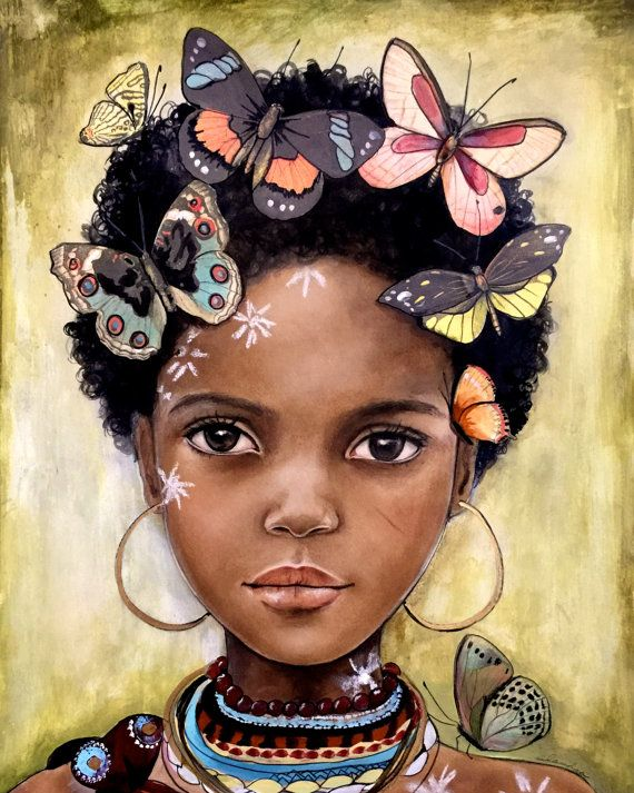 child from africa inspired with butterflies por claudiatremblay