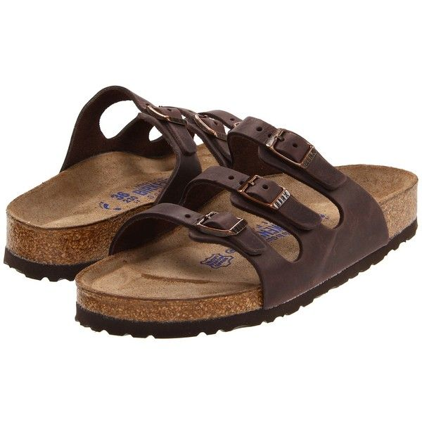 Birkenstock Florida Soft Footbed - Leather Women's Sandals ($130) ❤ liked on Polyvore featuring shoes, sandals, shock absorbing shoes, leather slip on sandals, genuine leather shoes, adjustable strap sandals and pull on shoes