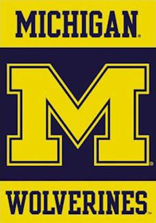 Michigan Wolverines BIG M Logo Banner Poster - Premium NCAA Wall Scroll - Available at www.sportsposterwarehouse.com