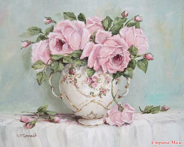 """Я ОЧЕНЬ люблю винтаж и шебби-шик... Потертая мебель, вышитые полотенца, кружева, роспись """"чайная роза"""""""