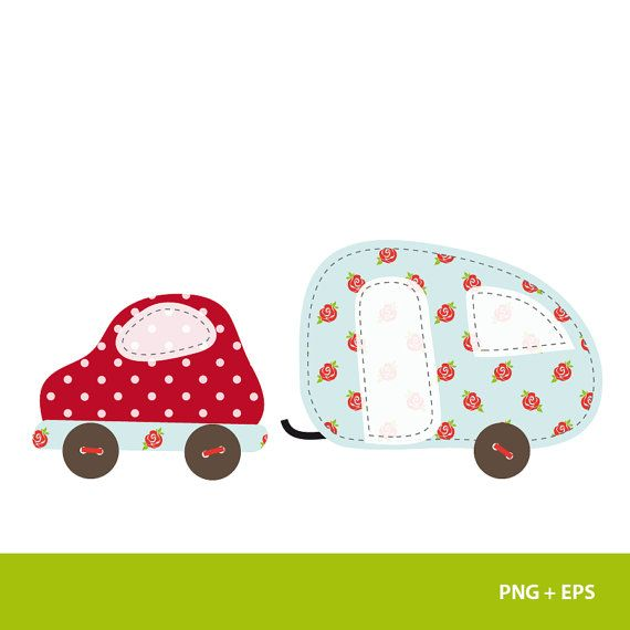 Car camper PNG & Vector clipart for card design by ohhcolor, €2.20