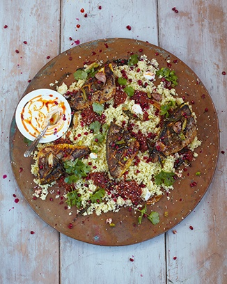 Moroccan bream, couscous, pomegranate & harissa. Will be trying this over the summer after Carl goes spearfishing. Hoorah!