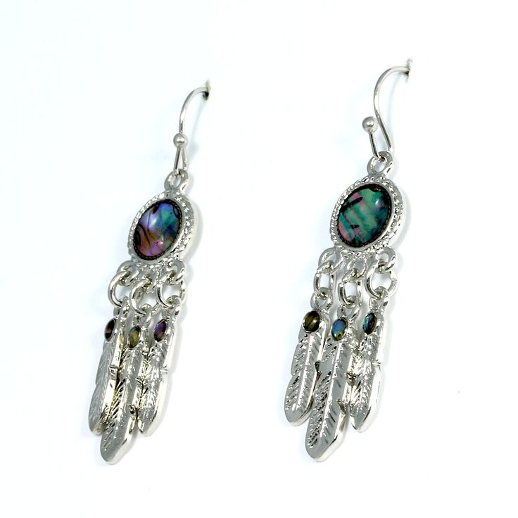 Inlaid paua or abalone shell dream catcher drop earrings suitable for pierced ears. - Only £5.99