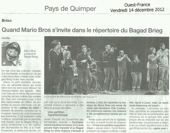 Avec le pupitre bombardes du Bagad Brieg, Bombardes en Fête, La Forêt-Fouesnant, 9 décembre 2012