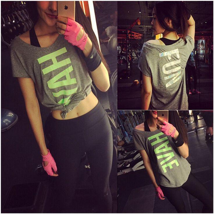 2016 Nieuwe WorkOut Sport T-shirt Vrouwen Fitness Kleding Sneldrogende Shirt Gym Running Shirt camisetas Running Kleding & Yoga Shirts