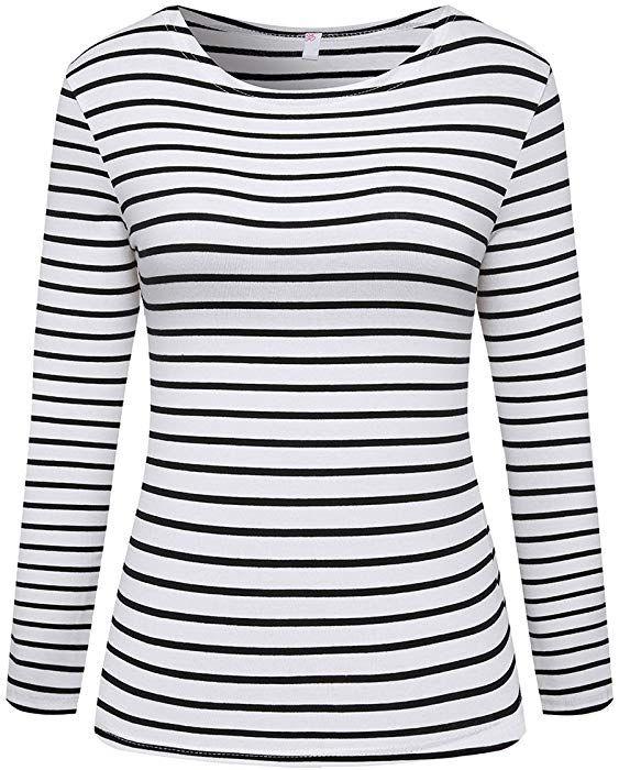 8763c8b4f6 Hilinker Women's Long Sleeve Striped T-Shirt Tee Shirt Tops Slim Fit  Blouses (Small, Black White) at Amazon Women's Clothing store: