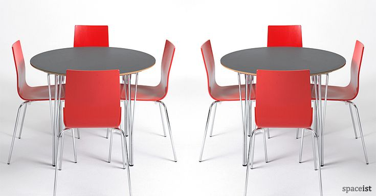Contract round dark grey canteen tables / ORDER NOW FROM SPACEIST