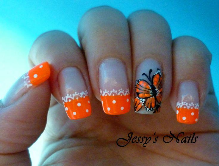 uñas en color naranja uñas mariposas nailart 2014