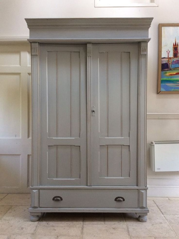 Antique French Gustavian Style Painted Grey Wardrobe Solid Pine Hall Cupboard | Antiques, Antique Furniture, Armoires/Wardrobes | eBay!