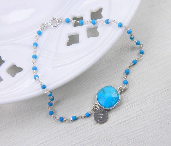 Personalized Bracelet turquoise stones by BarakaCustomJewelry
