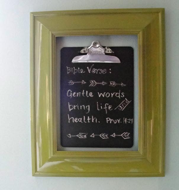 Gentle words...Frames Chalkboards, Chalkboards Painting, Empty Frames, Chalkboards Clipboards, Chalk Boards, Nice Ideas, Crafty Diy, Frames Ideas, Daily Bible Verses