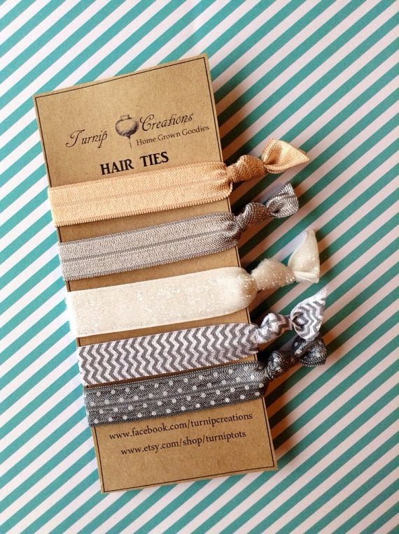 FOE Hair Ties Gray, Chevron, Polka Dot, Beige White Glitter Pony Tail Holder Elastic
