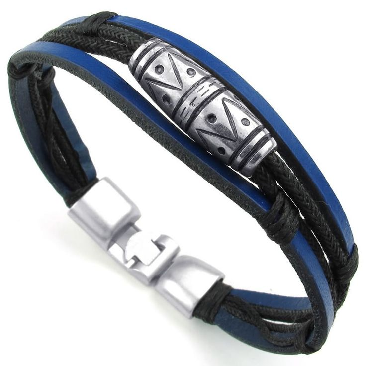 KONOV Jewelry Mens Womens Leather Rope Bracelet, Tribal Braided Cuff Bangle, Black Blue Silver