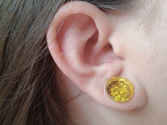 Yellow Acrylic Ear Plug Ear Stretcher 10mm 12mm 16mm Design 2