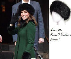 Kate Middleton style Cossack hat Faux Fur Black