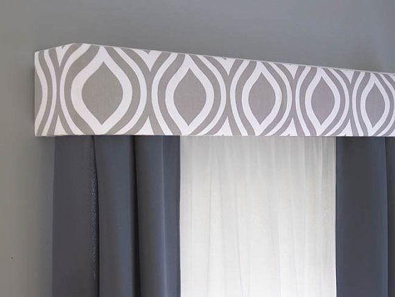 Gray Cornice Board Valance Window Treatment - Custom Curtain Topper in Modern Grey and White Fabric