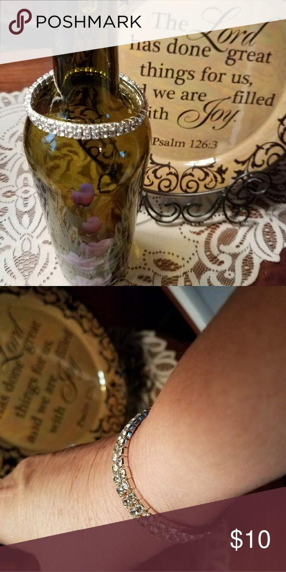 Stretch Bracelet Pretty faux crystal stretch bracelet fits small to larger wrists with stretch Jewelry Bracelets