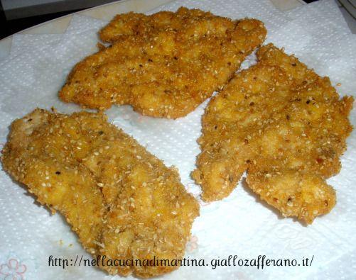 Petto di pollo impanato ai semi di sesamo