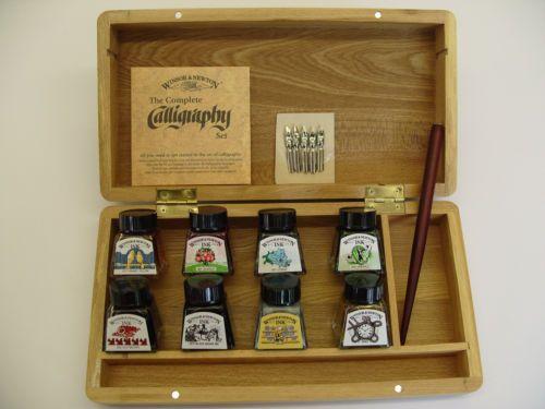 Winsor Newton Calligraphy Set Wooden Box 8 Ink Bottles