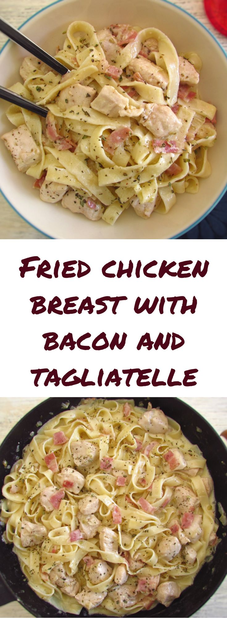 Fried chicken breast with bacon and tagliatelle | Food From Portugal. If you want to prepare a simple and quick meal for dinner we have the ideal solution for you! This chicken recipe mixed with bacon and tagliatelle is delicious! Try, you'll love it... #chicken #tagliatelle #recipe #bacon