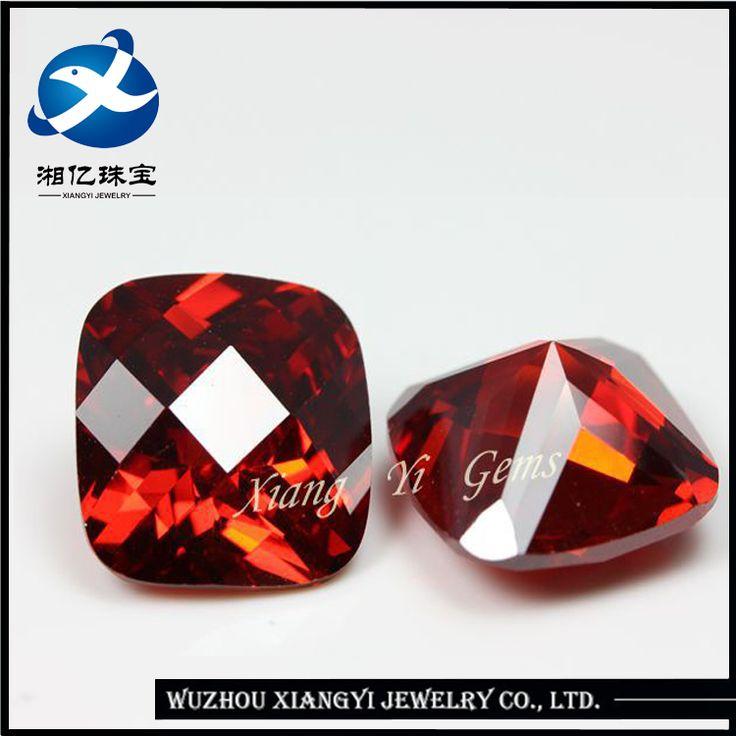 wuzhou xiangyi 11mm square checkerboard garnet natural indian synthetic ruby stone price per carat