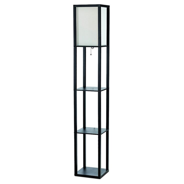 Simple Designs LF1014 Floor Lamp with Shelf - LF1014-BLK