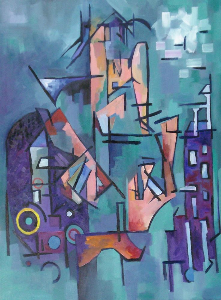 """Composition in Blue Green, Tyrone Rogers, 2016, oil on canvas, 30"""" x 40""""  Abstract painting painter fine art abstract music rhythm"""