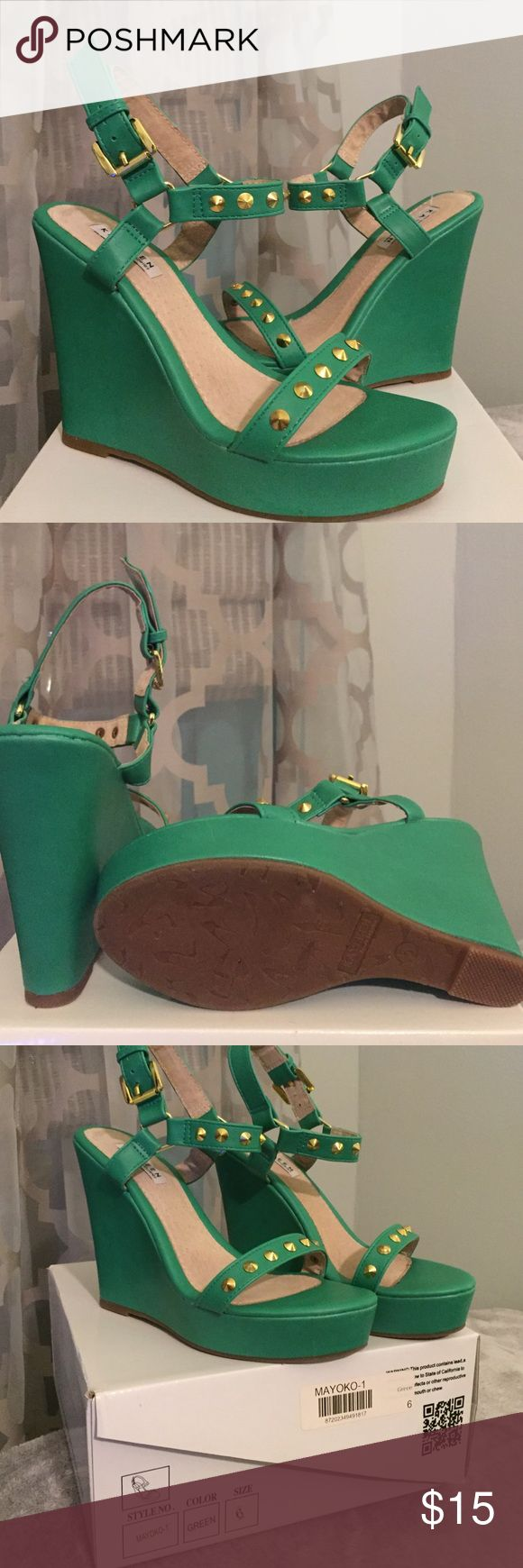 🍀 Get Ready For Spring 🍀 These cute green wedges have only been worn once!! They have gold studs! No visible worn to them. Kayleen By Los Angeles Shoes Wedges