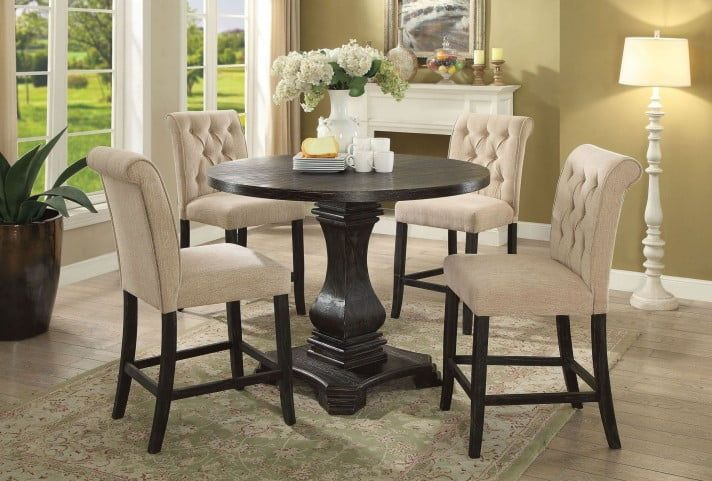 Nerissa Antique Black Counter Height Dining Room Set Counter