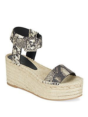 Vince Abby Snake-Embossed Leather Espadrille Platform Wedge Sandals