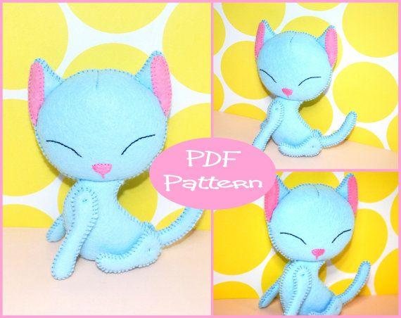 PDF Pattern  Cat Felt Animal Doll Pattern  For by EmmaIrlamCrafts