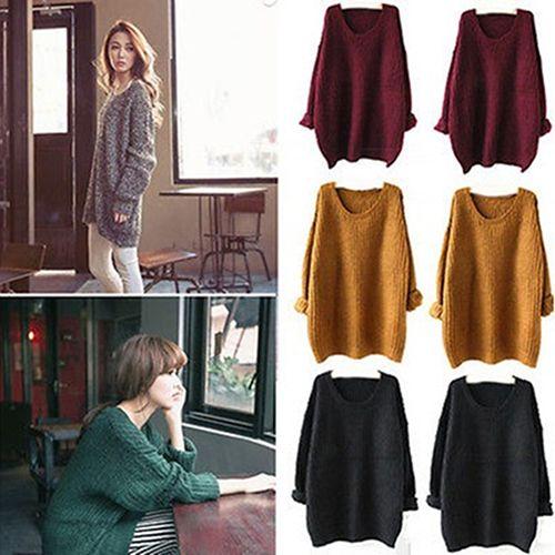 Women Fashion Winter Casual Loose Knitted Sweater Long Sleeve Top Outwear Coat