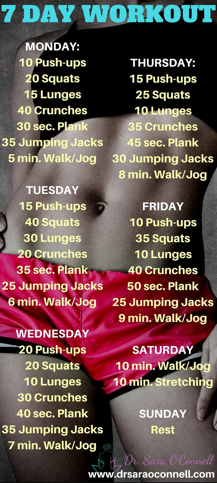 7 day, full body, at home, body weight workout. This simple but effective workout can be used for multiple weeks and is quick, fun and effective. Click the image for my FREE Grocery List!