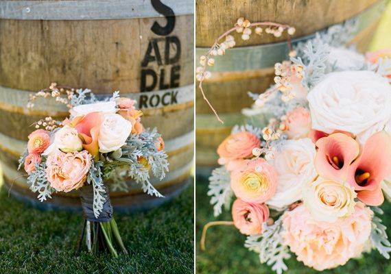 Beautiful soft bouquet with dusty miller, roses, calla lilies, ranunculus, and succulents.
