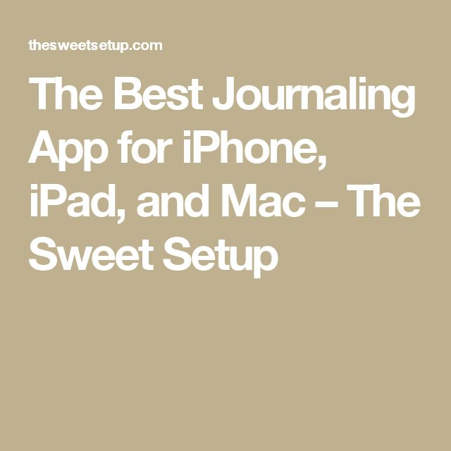 The Best Journaling App for iPhone, iPad, and Mac – The Sweet Setup