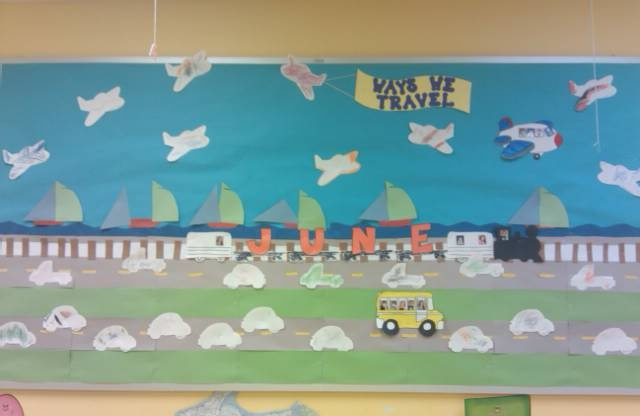 Ways We Travel. My preschool class helped with this bulletin board.  They helped with decorating their own cars, trucks, boats, and train.  I added some pictures of the children to the bus and plane.  It was very easy to create.  I got the idea from a bullentin board book.