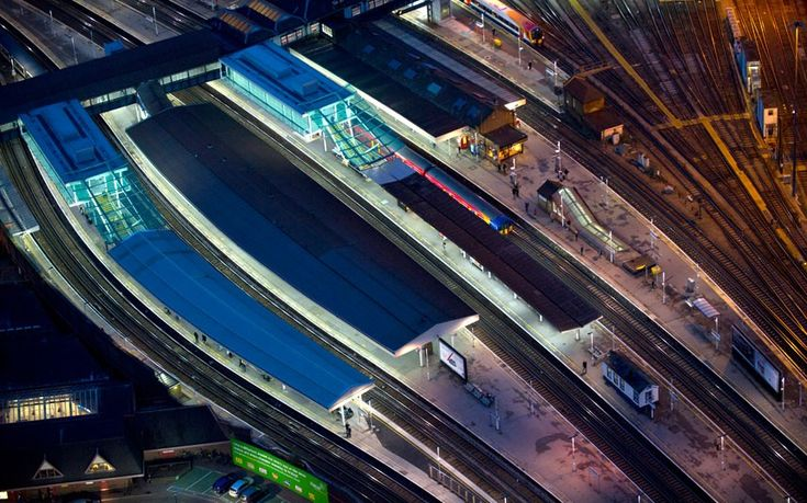 A night-time aerial view of Clapham Junction railway station in south London  Picture: Jason Hawkes / Barcroft Media