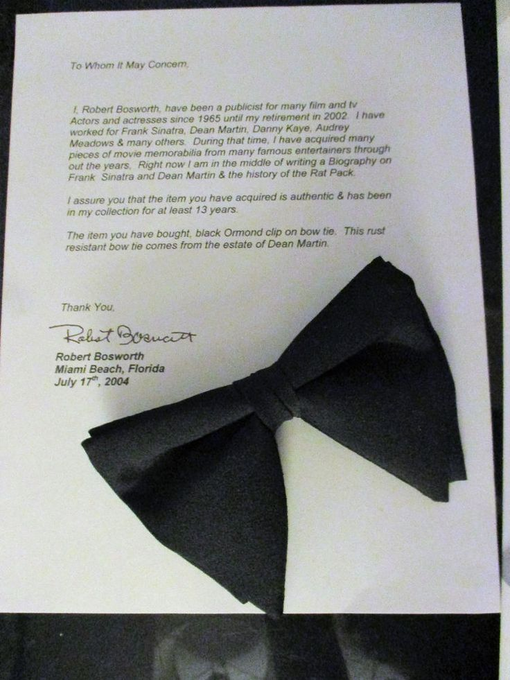 DEAN MARTIN BOW TIE AUTHENTIC BOUGHT FROM DEAN MARTIN ESTATE by R BOSWORTH